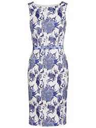 Gina Bacconi Jacquard Dress With Waist Trim Blue