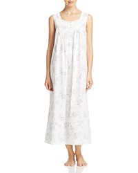 Eileen West Sleeveless Ballet Nightgown White Ground Roses