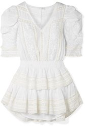 Loveshackfancy Marissa Tiered Crochet Trimmed Broderie Anglaise Cotton Voile Mini Dress White