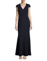 Calvin Klein Cap Sleeve V Neck Trumpet Gown Twilight