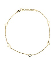 Lord And Taylor 14K Yellow Gold Heart Anklet
