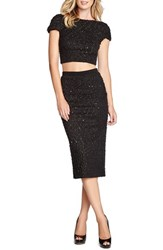 Women's Dress The Population 'Natalie' Sequin Knit Midi Pencil Skirt Black