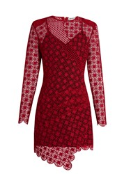 Self Portrait Strike Guipure Lace Mini Dress Red