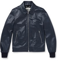Burberry Leather Bomber Jacket Blue