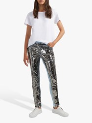 French Connection May Sequin Jeans Vintage Blue Gunmetal