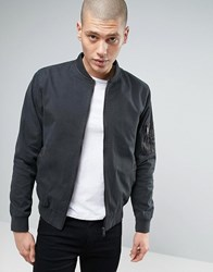 Brave Soul Garment Dyed Military Bomber Jacket Grey