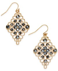 Inc International Concepts Gold Tone Black Crystal Diamond Shape Drop Earrings Only At Macy's