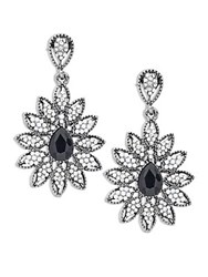 Cara Floral Studded Drop Earrings Silver Black