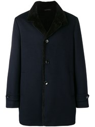 Manzoni 24 Fur Lined Single Breasted Coat Blue