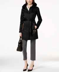 Jones New York Faux Suede Trim Satin Trench Coat