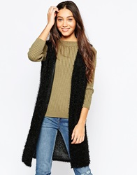 Brave Soul Sleeveless Faux Fur Gilet Black