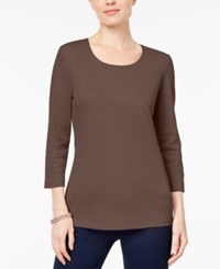 Karen Scott Petite Cotton Scoop Neck Top Created For Macy's Brown Clay