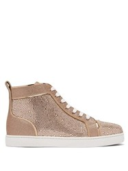 Christian Louboutin Louis Crystal Embellished High Top Suede Trainers Gold