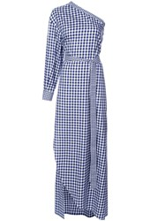Rosetta Getty Checked One Shoulder Dress Women Cotton 2 Blue