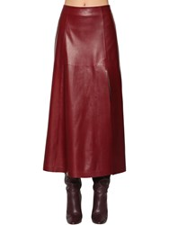 Salvatore Ferragamo Leather Midi Skirt Bordeaux