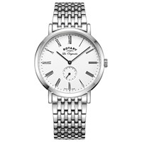 Rotary Gb90190 01 Men's Les Originales Windsor Bracelet Strap Watch Silver White