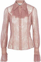 Anna Sui Ruffle Trimmed Chantilly Lace Shirt Antique Rose