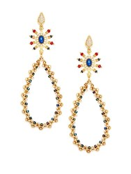 Azaara Lapis And Multi Color Stone Teardrop Earrings Goldtone Gold Blue