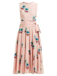 Rochas Floral Printed Silk Crepe De Chine Midi Dress Pink Multi