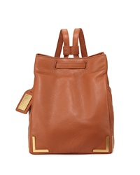 Badgley Mischka Linda Leather Bucket Backpack Cognac