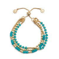 Azuni London Delia Three Strand Bracelet In Gold And Apatite