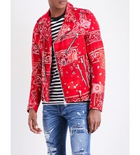 Amiri Patchwork Bandana Print Cotton Jacket Red