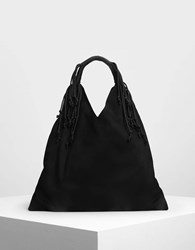 Charles And Keith Fringe Detail Slouchy Bag Black