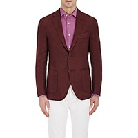 Barneys New York Men's Herringbone Two Button Sportcoat Red