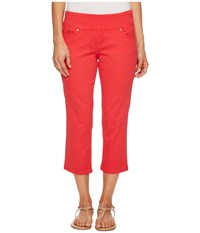 Jag Jeans Petite Peri Straight Pull On Twill Crop In Hibiscus Hibiscus Women's Pink