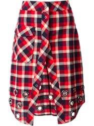 Filles A Papa Eyelet Embellished Check Skirt Red