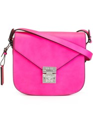 Mcm Fold Over Closure Crossbody Bag Pink Purple