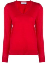 Pringle Of Scotland Classic V Neck Jumper Red