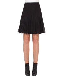 Akris Pleated Silk Georgette Skirt Black