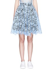 Helen Lee Floral Guipure Lace Flare Skirt Blue