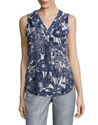Eliza J Sleeveless Floral Top Blue