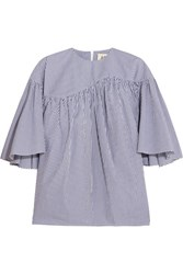 A.W.A.K.E. Ruffled Striped Cotton Poplin Top Navy