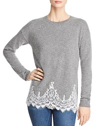 Bloomingdale's C By Lace Hem Sweater 100 Exclusive Slate Ivory