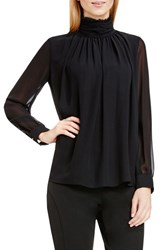 Vince Camuto Women's Ruffle Collar Blouse Rich Black