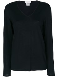Le Tricot Perugia Scoop Neck Top Virgin Wool Black