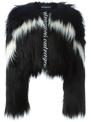 Marco Bologna Cropped Faux Fur Jacket Black