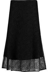 Raoul Amelia Metallic Open Knit Midi Skirt Black