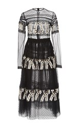 Costarellos Embroidered Tulle Tea Length Ball Dress Black