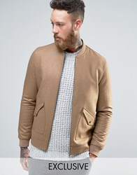 Heart And Dagger Tweed Bomber Camel Brown