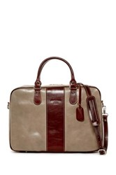 Persaman New York Salvatore Colorblock Italian Leather Briefcase Beige