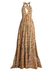 Kalita Rooftop Runway Floral Print Cotton Maxi Dress Beige Multi