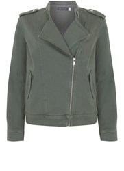 Mint Velvet Khaki Denim Military Jacket Green