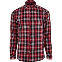Only And Sons River Island Mens Red Casual Check Shirt