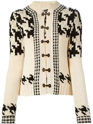 Yohji Yamamoto Vintage Houndstooth Intarsia Cardigan Nude And Neutrals