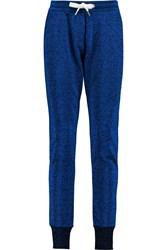 Zoe Karssen Hearts Embroidered Metallic Cotton Blend Track Pants Blue