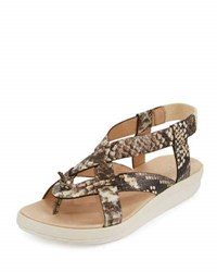 Tommy Bahama Iolana Snake Embossed Strappy Sandal Neutral